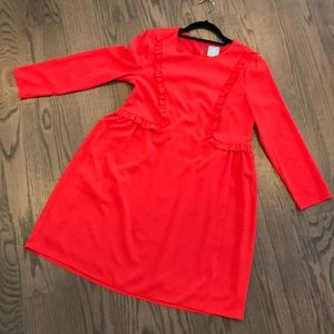 CeCe Red dress, size 4, ruffles, 3/4 sleeves